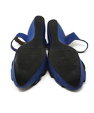 Ferragamo Blue Suede Black Piping Sandals 4