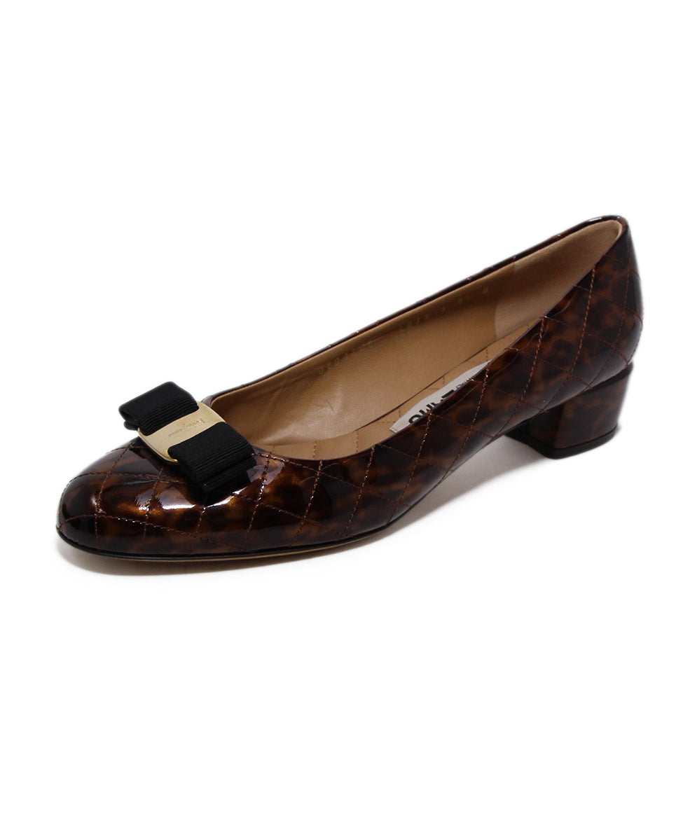 Ferragamo Brown Quilted Patent Leather Heels 1