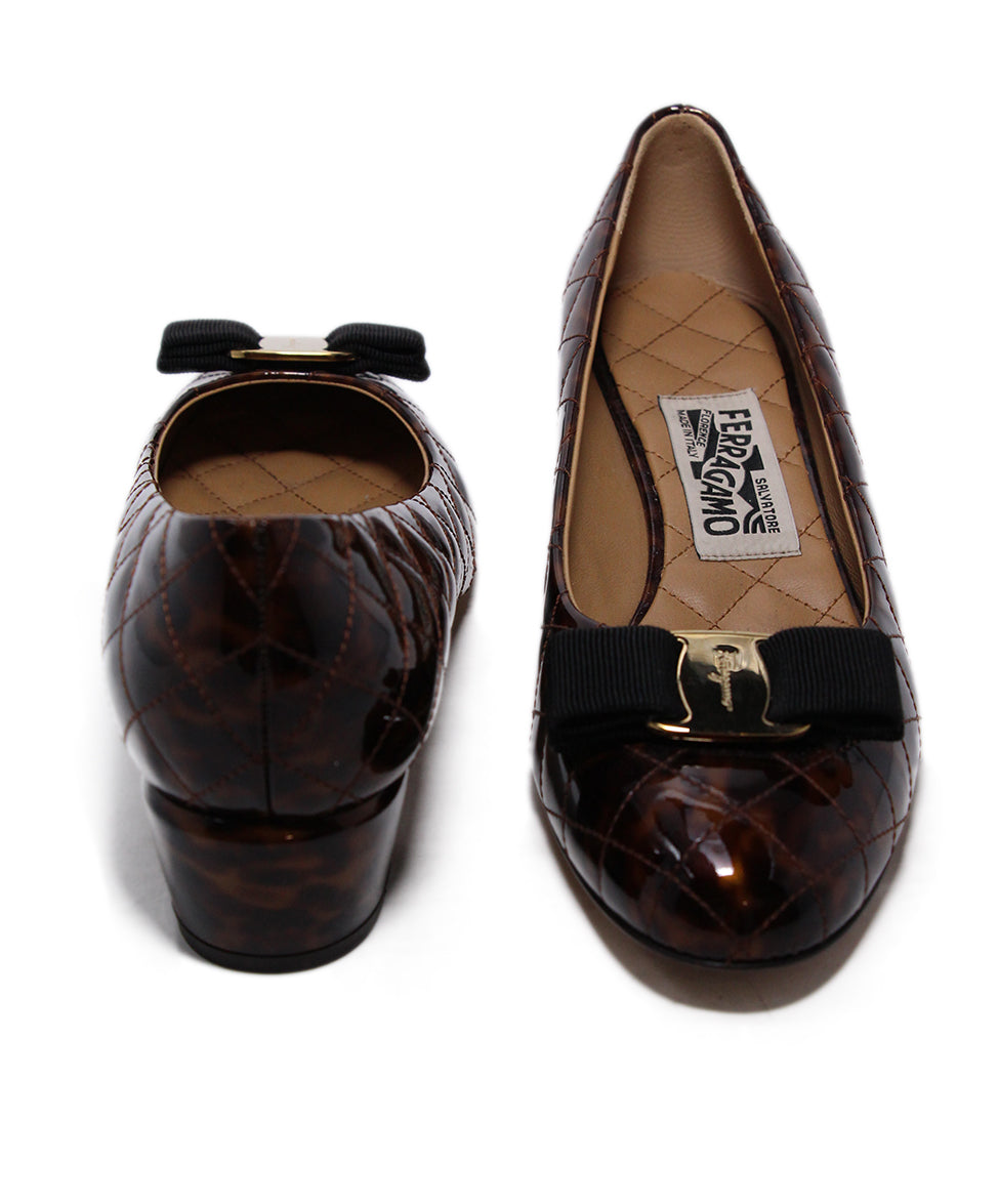Ferragamo Brown Quilted Patent Leather Heels 3