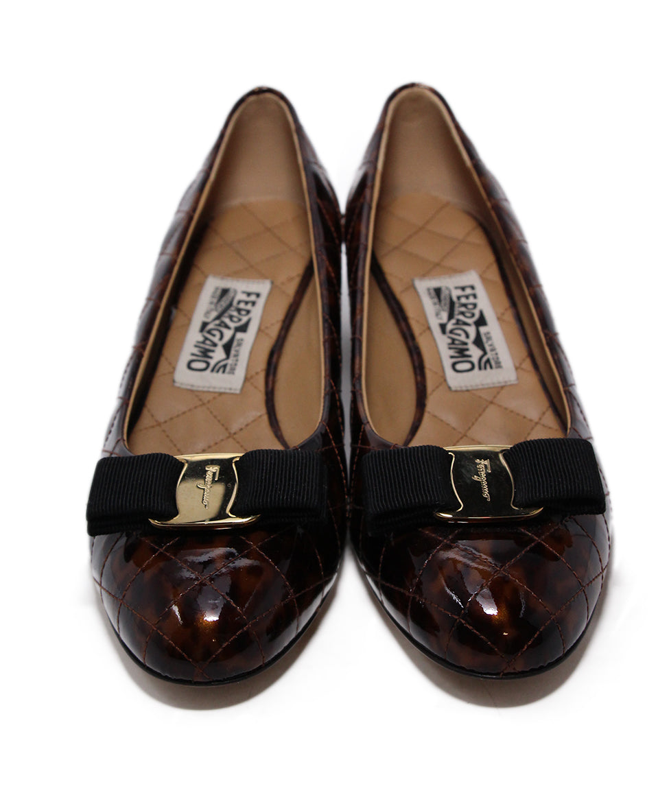 Ferragamo Brown Quilted Patent Leather Heels 4