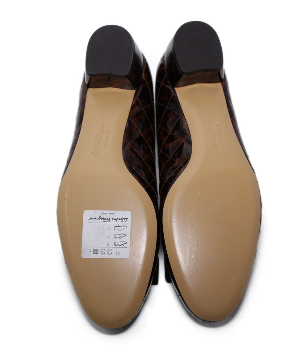 Ferragamo Brown Quilted Patent Leather Heels 5