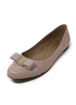 Ferragamo Pink Patent Leather Flats with Bow Detail 1