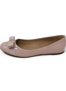 Ferragamo Pink Patent Leather Flats with Bow Detail 2