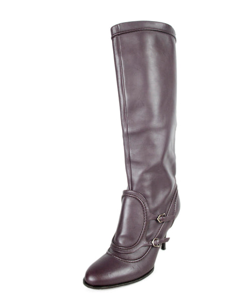 Ferragamo Purple Leather Boots Sz 38.5
