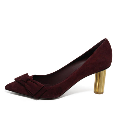 Ferragamo Purple Plum Suede Gold Heel 1