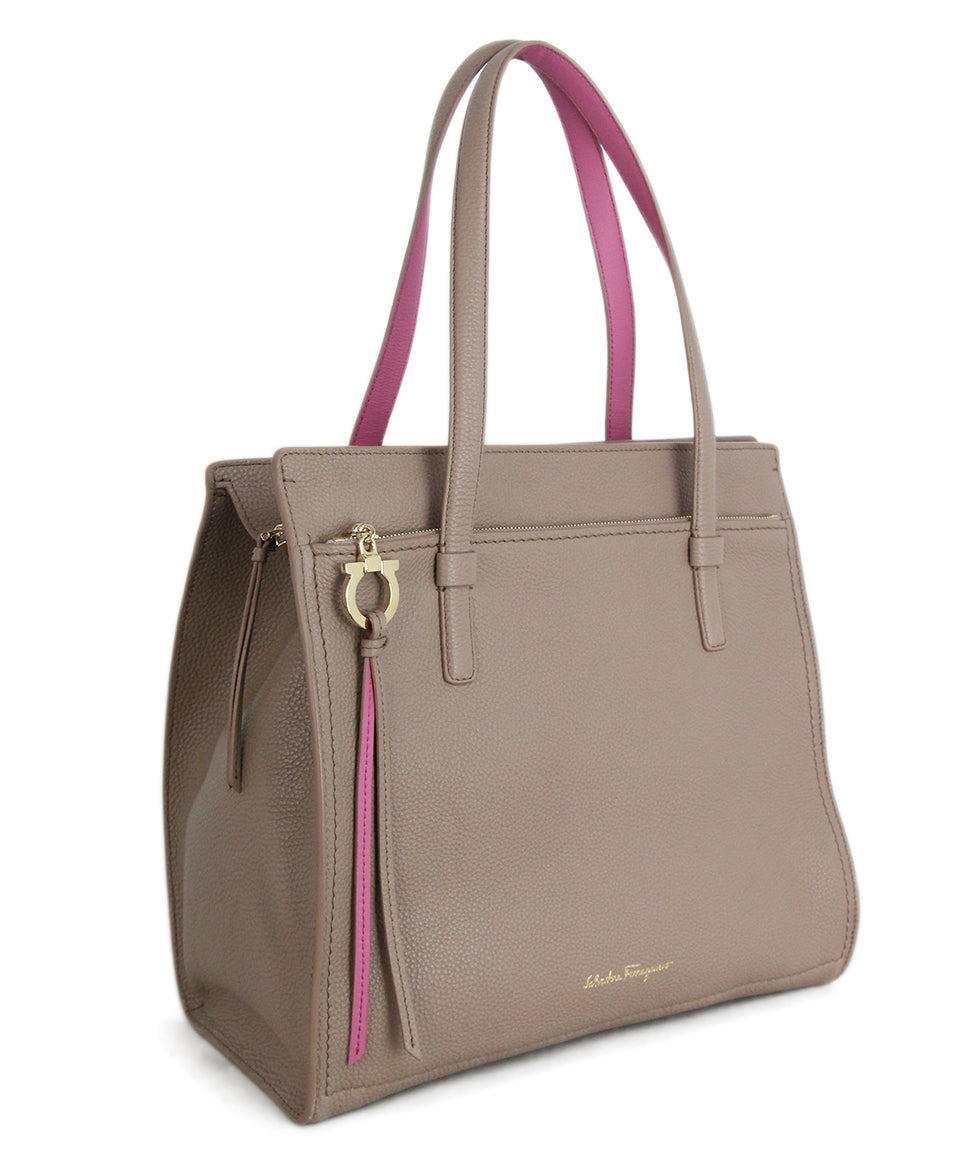 Ferragamo Taupe Pink Leather Tote 2