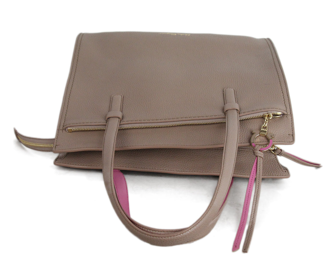 Ferragamo Taupe Pink Leather Tote 5