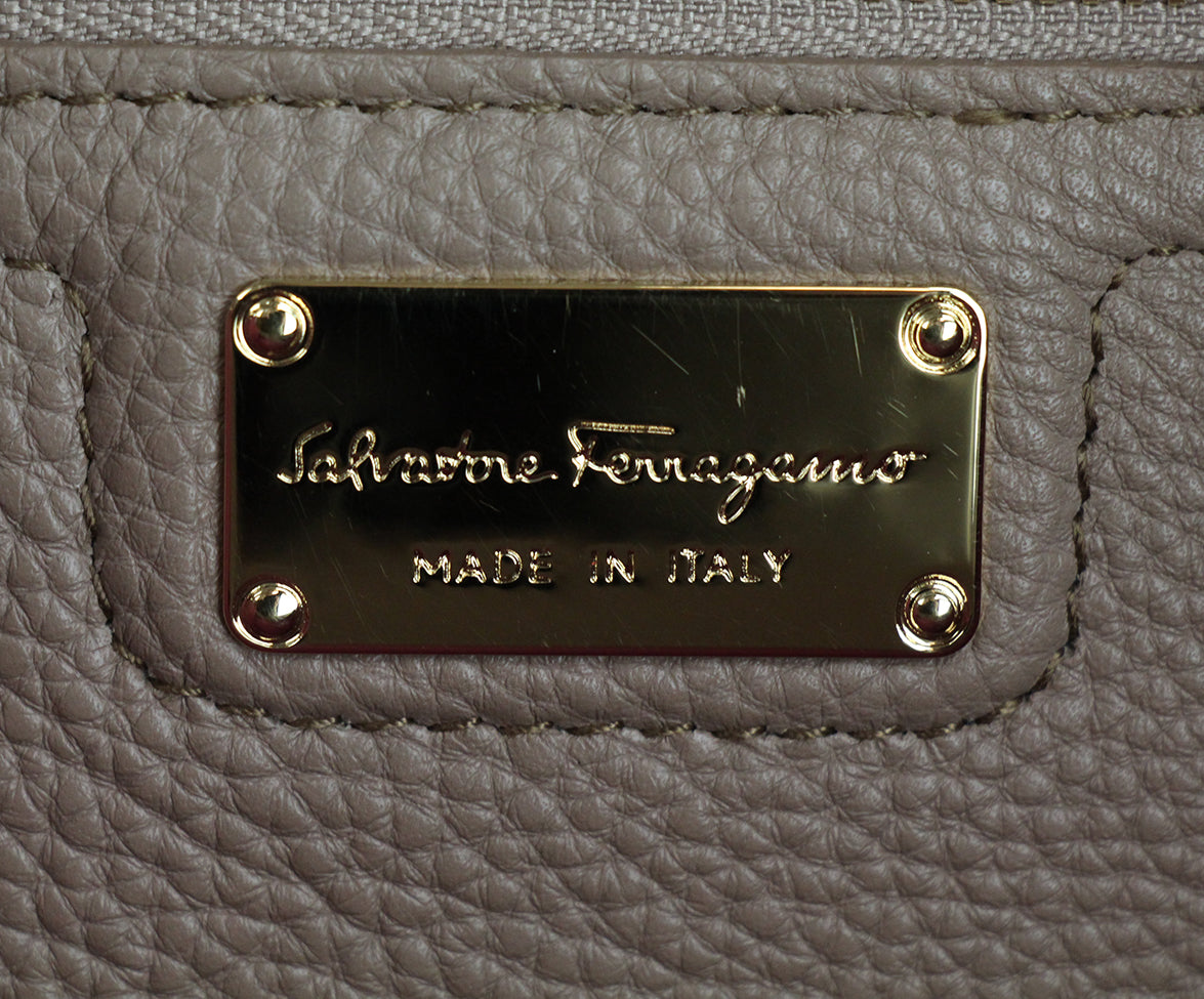 Ferragamo Taupe Pink Leather Tote 7