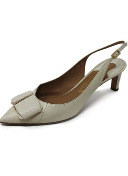 Ferragamo White Leather Sling Back Mules 1