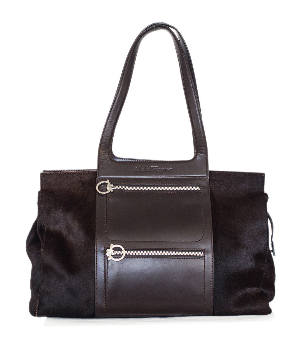 Ferragamo Brown Pony Leather Silver Hardware w/ Dust Bag - Michael's Consignment NYC  - 1