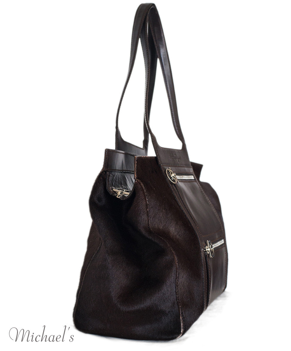 Ferragamo Brown Pony Leather Silver Hardware w/ Dust Bag - Michael's Consignment NYC  - 2