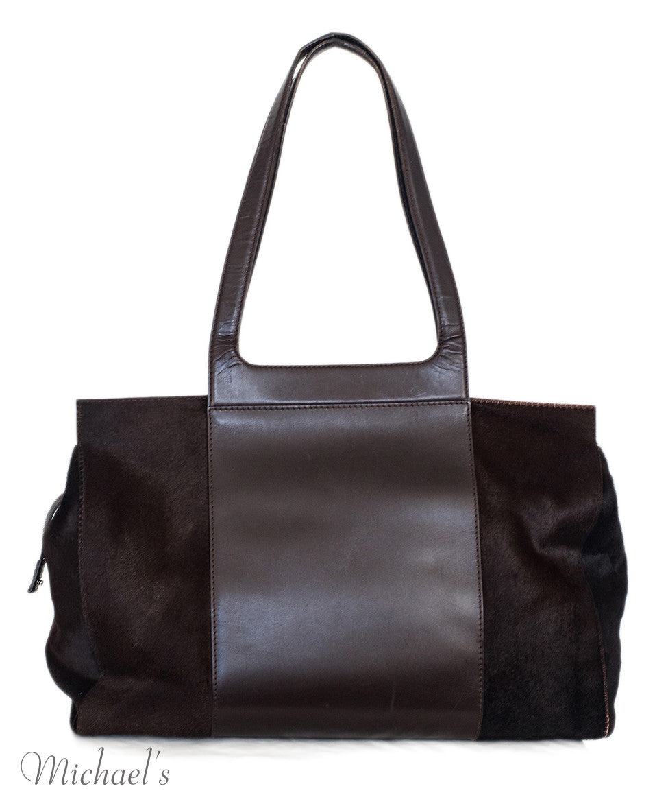 Ferragamo Brown Pony Leather Silver Hardware w/ Dust Bag - Michael's Consignment NYC  - 3