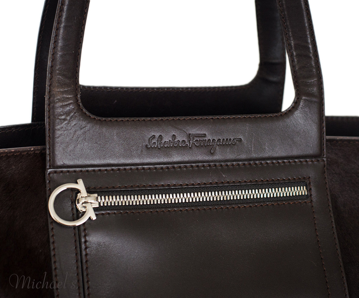 Ferragamo Brown Pony Leather Silver Hardware w/ Dust Bag - Michael's Consignment NYC  - 8