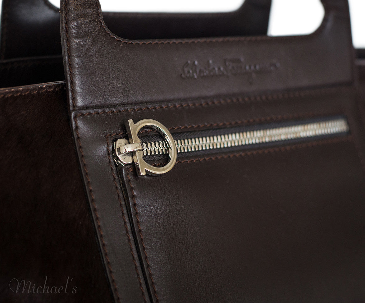 Ferragamo Brown Pony Leather Silver Hardware w/ Dust Bag - Michael's Consignment NYC  - 10