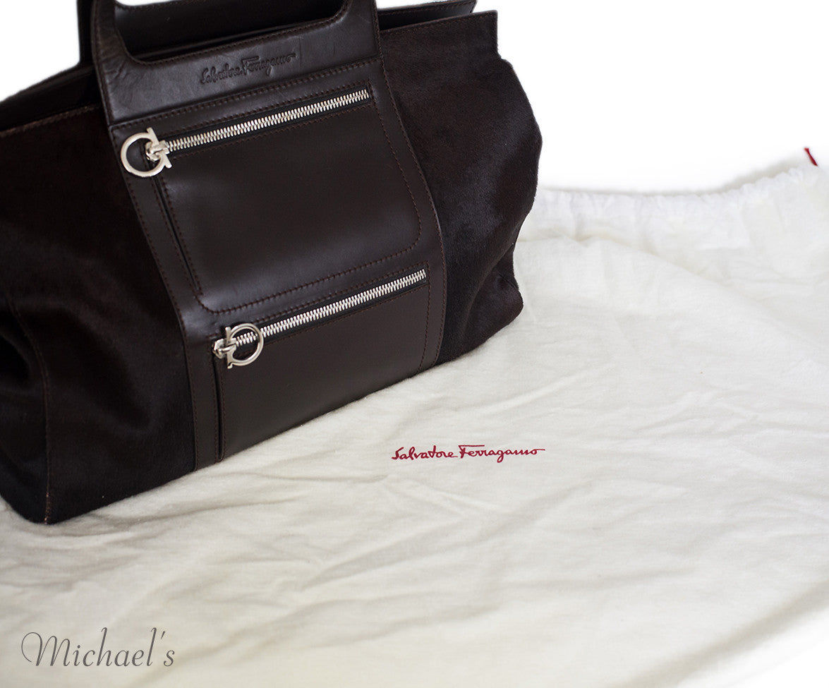 Ferragamo Brown Pony Leather Silver Hardware w/ Dust Bag - Michael's Consignment NYC  - 5