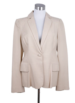 Ferragamo Neutral Beige Pressed Leather Blazer Jacket 1