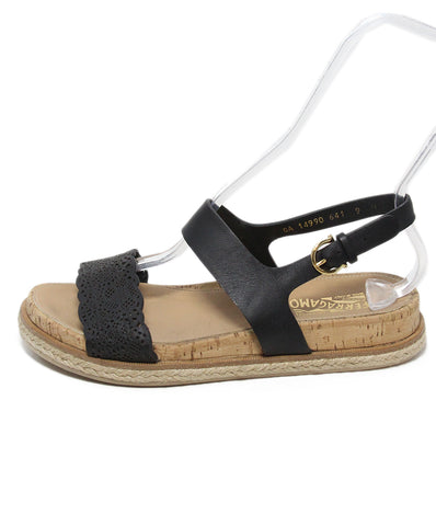 Ferragamo black cork sandals 1