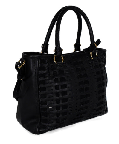 Ferragamo Black Cutwork Leather Satchel Handbag 1