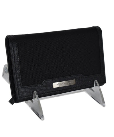 Ferragamo Black Leather Canvas Wallet 1
