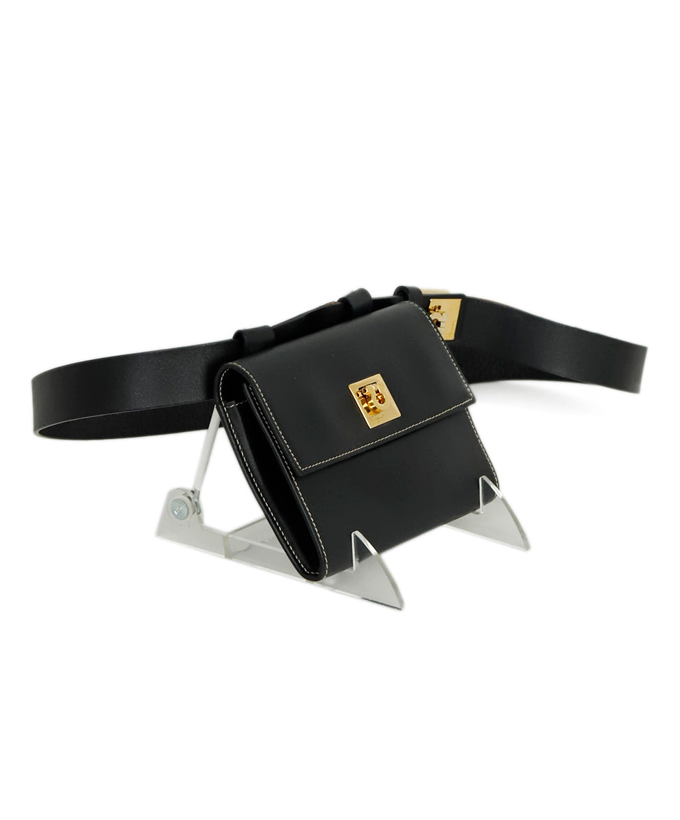 Ferragamo Black Leather Mini Fannypack Bag 2