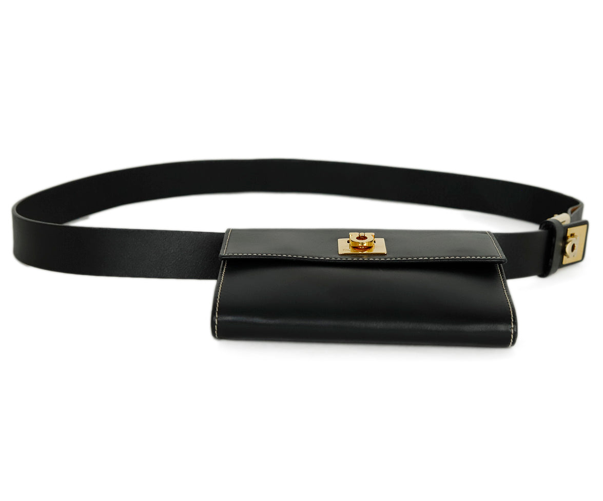 Ferragamo Black Leather Mini Fannypack Bag 4