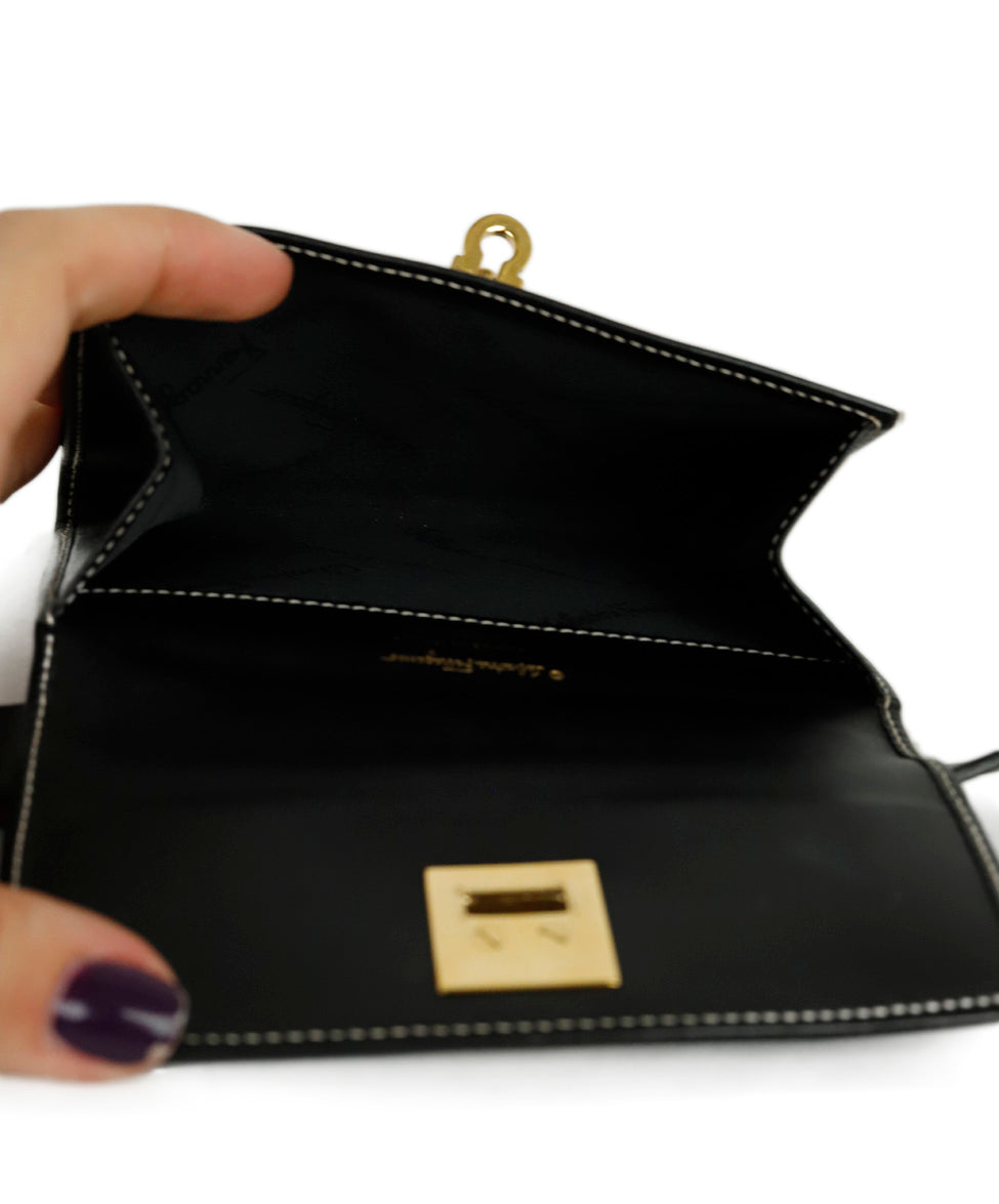 Ferragamo Black Leather Mini Fannypack Bag 6