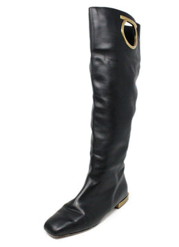 Ferragamo Black Leather Gold Metal Logo Tall Boots 1