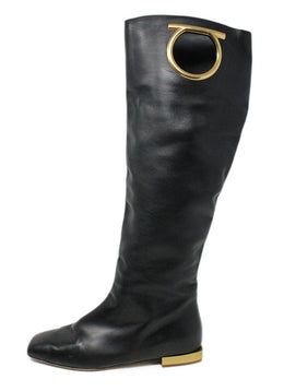 Ferragamo Black Leather Gold Metal Logo Tall Boots 2