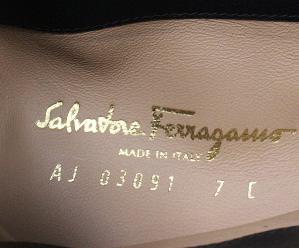 Ferragamo Black Leather Gold Metal Logo Tall Boots 6