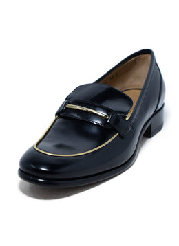 Ferragamo Black Leather Gold Trim Flats 1