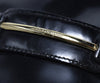 Ferragamo Black Leather Gold Trim Flats 8