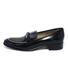 Ferragamo Black Leather Gold Trim Flats 2