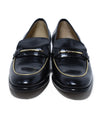 Ferragamo Black Leather Gold Trim Flats 4