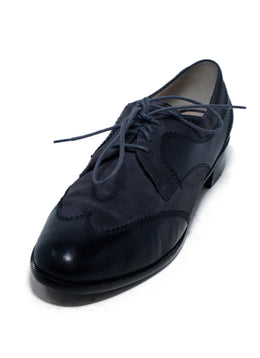 Ferragamo  Black Leather Grey Suede Oxfords 1