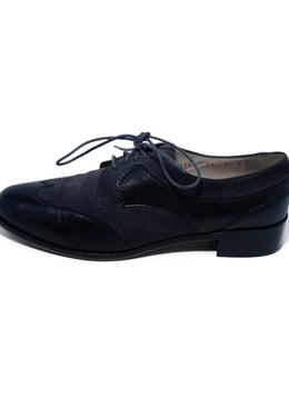 Ferragamo  Black Leather Grey Suede Oxfords 2