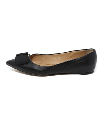Ferragamo black leather grosgrain bow flats 1