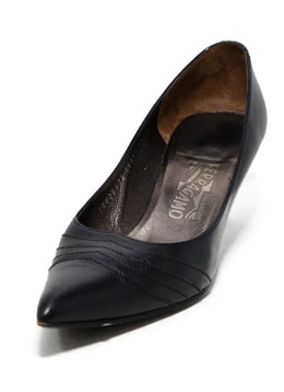 Ferragamo Black Leather Heels 1