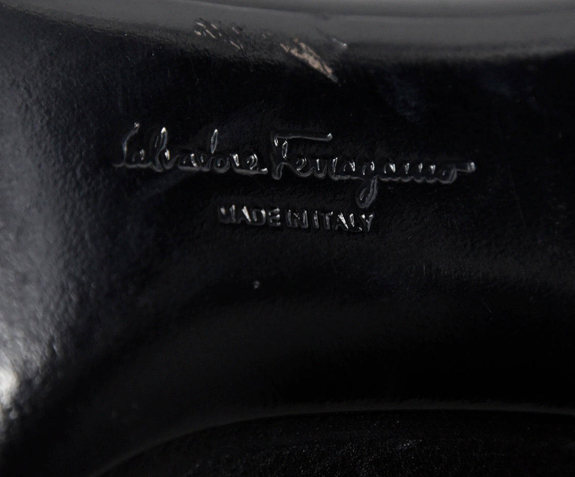 Ferragamo Black Leather Heels 6