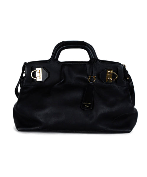 Ferragamo Black Leather Satchel Handbag 1