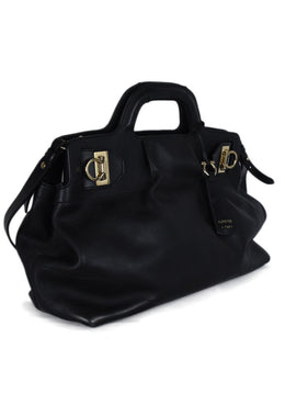 Ferragamo Black Leather Satchel Handbag 2
