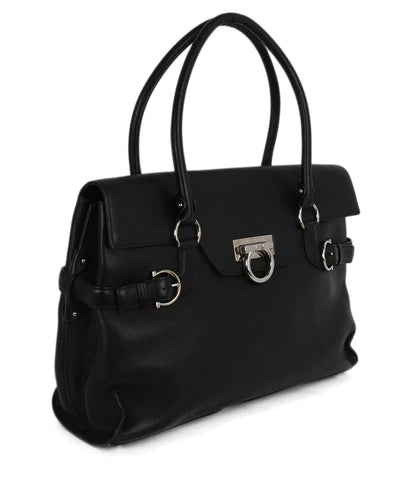 Ferragamo black leather tote 1
