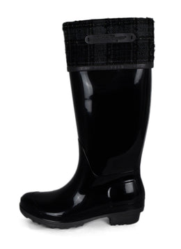 Ferragamo Black Rubber Grey Plaid Felt Trim Rain Boots 2