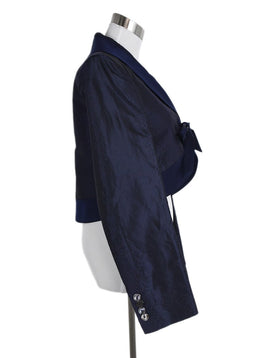 Ferragamo Blue Navy Silk Linen Evening Jacket 2