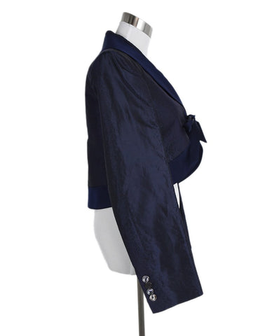 Ferragamo Blue Navy Silk Linen Evening Jacket 1