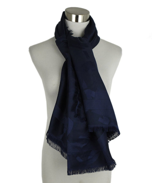 Ferragamo Navy Wool and Silk Scarf | Ferragamo
