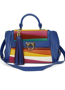Ferragamo Blue Red Yellow Leather Satchel Handbag 1