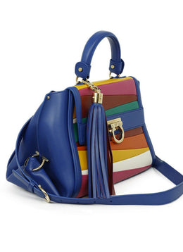 Ferragamo Blue Red Yellow Leather Satchel Handbag 2