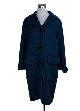 Ferragamo Blue Teal Wool Coat Outerwear 1