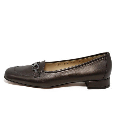 Ferragamo Brown Copper Leather Flats 1