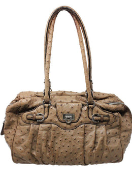 Ferragamo Brown Tan Ostrich Handbag 1